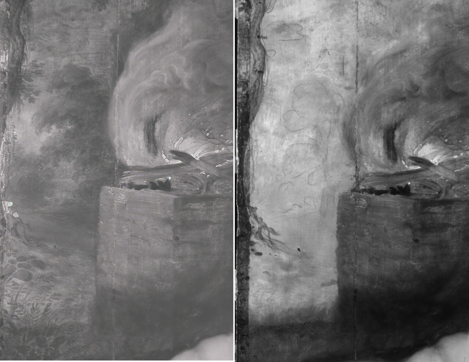 Digital IR photograph (left) taken with Nikon Coolpix E995 compared with IR Reflectogram  (right) made with the OSIRIS camera. Both images of P.1978.PG.353 Cain Slaying Abel by Peter Paul Rubens, © the Samuel Courtauld Trust, The Courtauld Gallery, London
