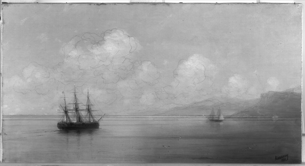 TSR Infrared Reflectogram of Ivan Aivazovsky 'Ship off the Crimean Coast', Image Courtesy of Sotheby's